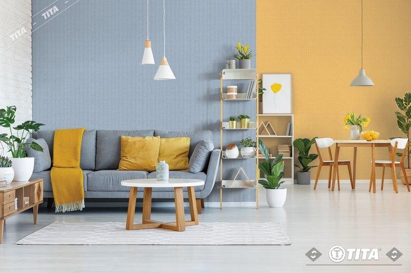 giấy dán tường phòng khách nhiều màu