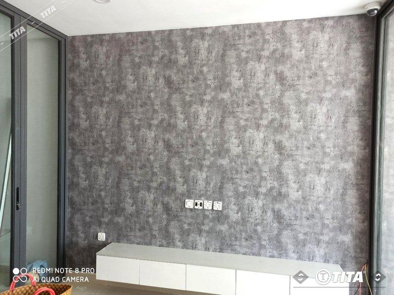 giấy dán tường cho phòng ngủ mẫu giả bê tông