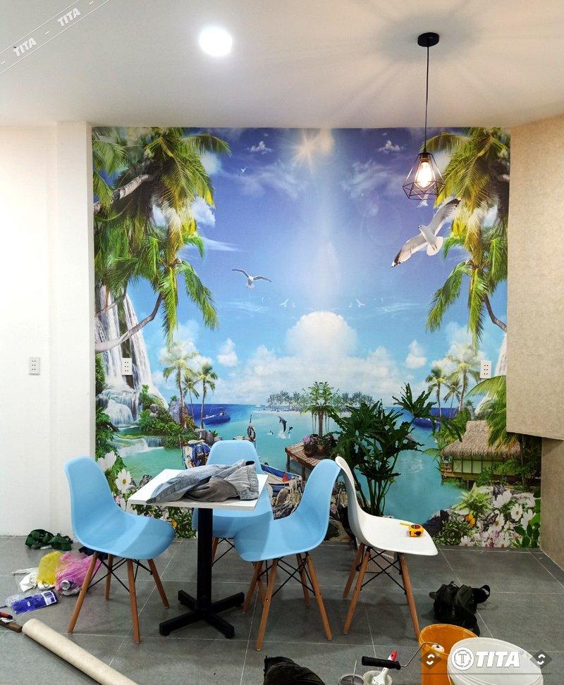 tranh dán tường phòng khách, tranh 3d phong cảnh thiên nhiên