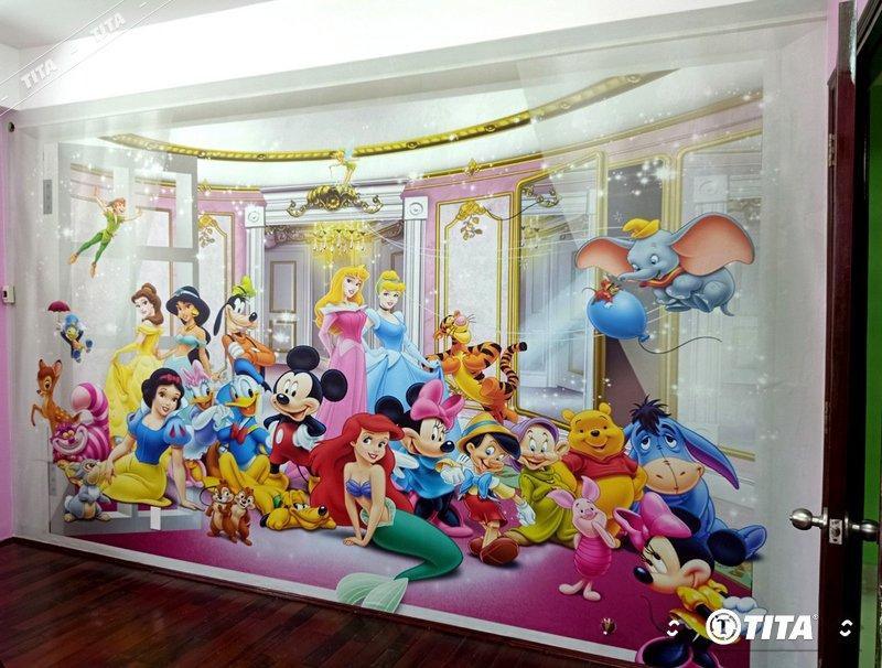 tranh vải dán tường phòng ngủ mẫu hoạt hình cho bé