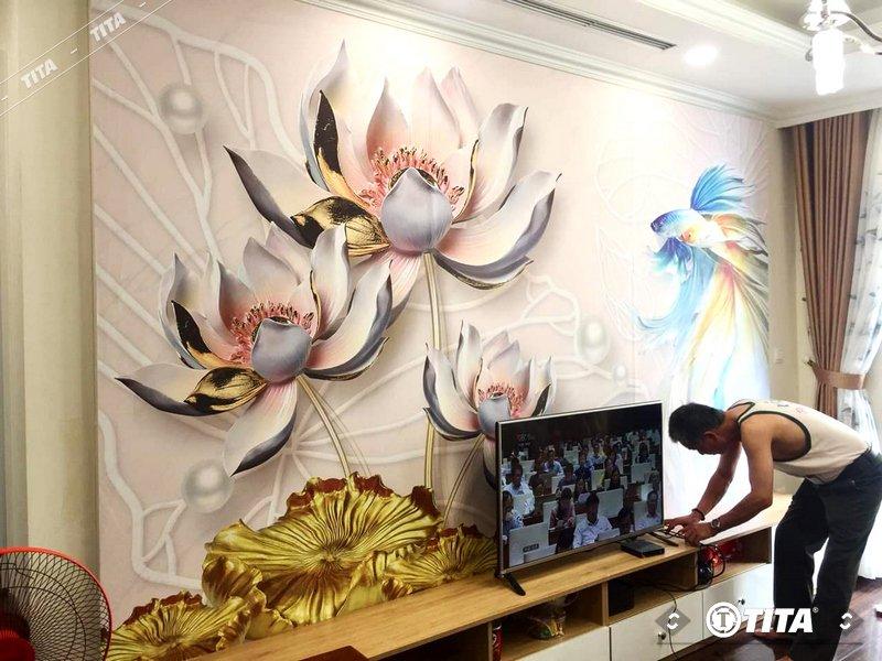 tranh vải dán tường 3d cho phòng ngủ ấn tượng