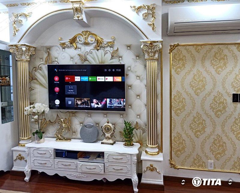 tranh dán tường 3d cổ điển cho phòng ngủ căn hộ