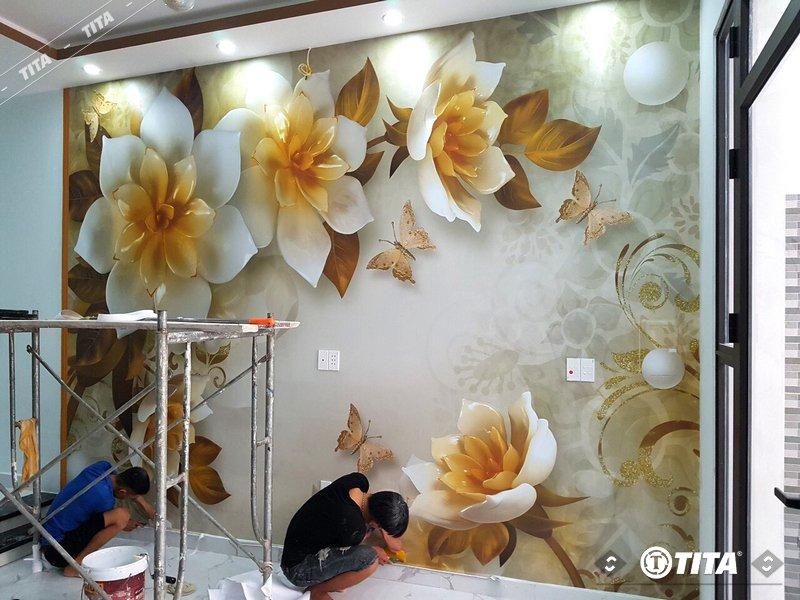 tranh dán tường 3d cho phòng ngủ mẫu giả ngọc