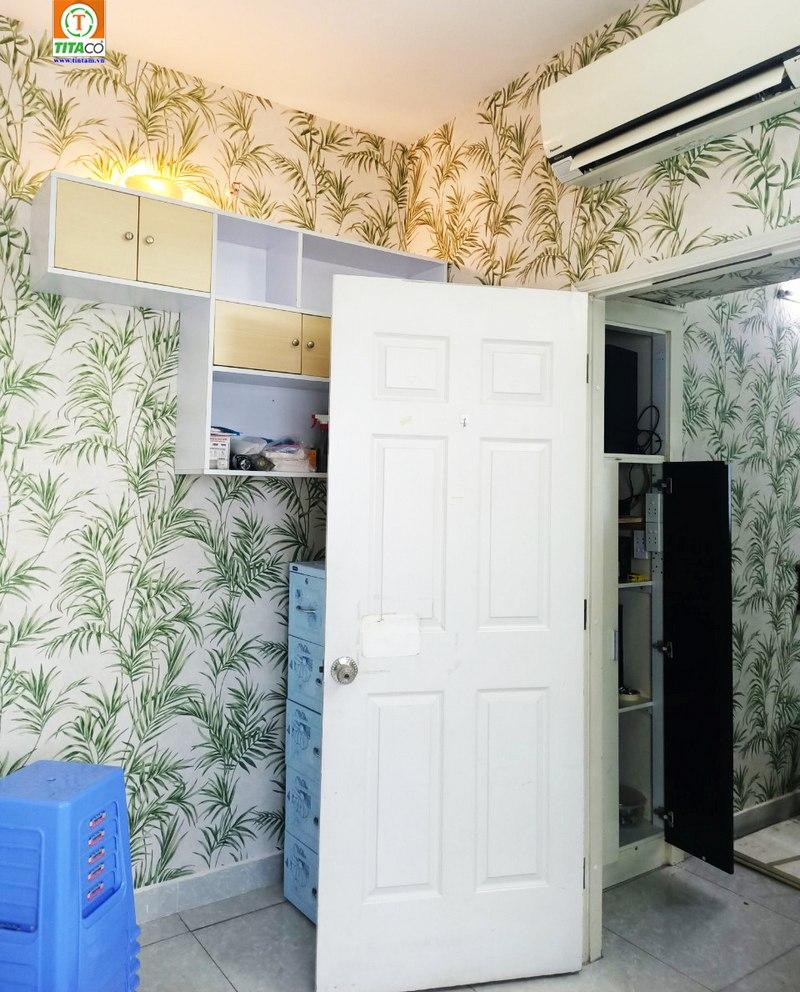 giấy dán tường phòng khách hoa văn cây xanh