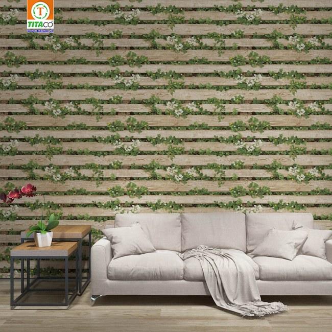 Trang trí mẫu giấy dán tường giả gỗ cây xanh hiện đại cho phòng khách