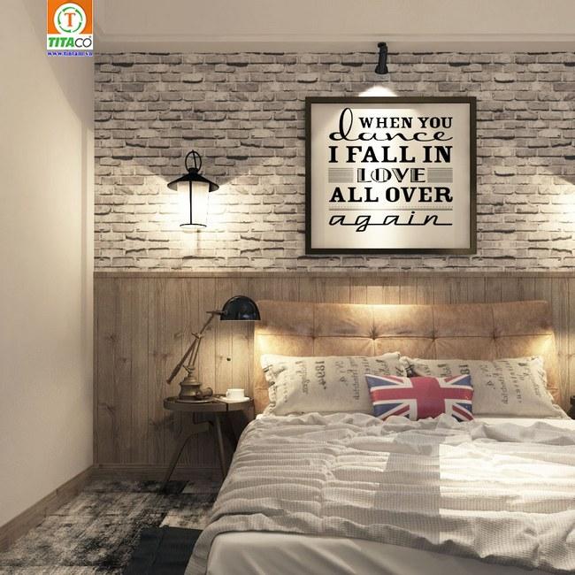 Trang trí giấy dán tường hiện đại giả gạch làm điểm nhấn cho phòng ngủ nhỏ