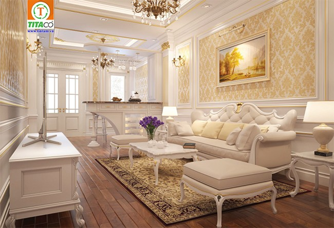 trang trí giấy dán tường phòng khách cổ điển thiệt thự