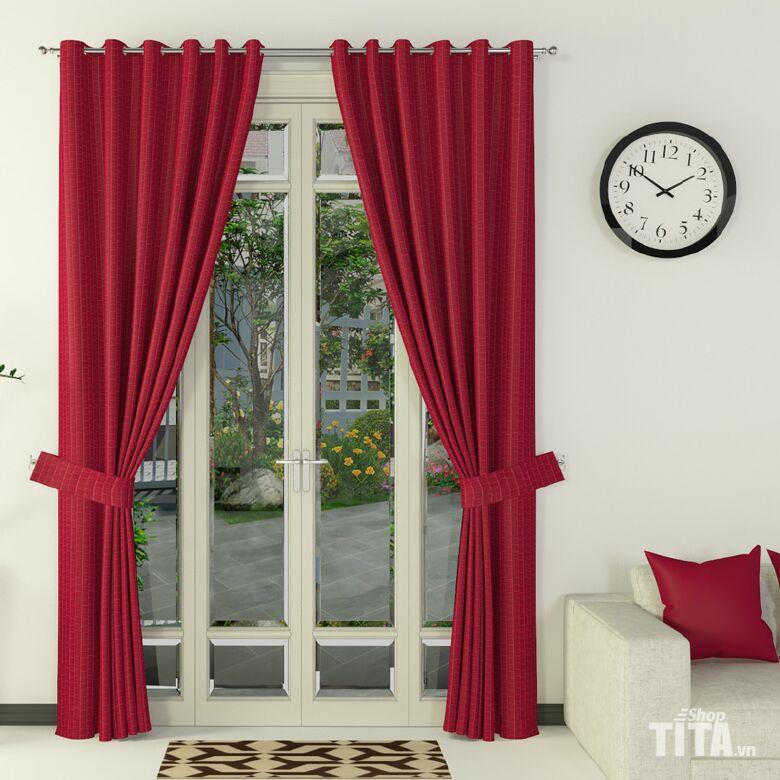 rèm cửa vải trơn màu đỏ