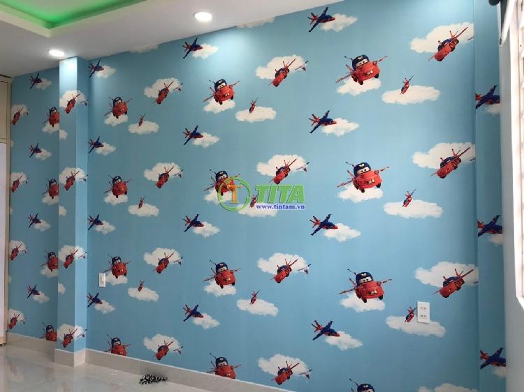 Giấy dán tường đẹp cho phòng bé hình xe hơi, bầu trời, máy bay