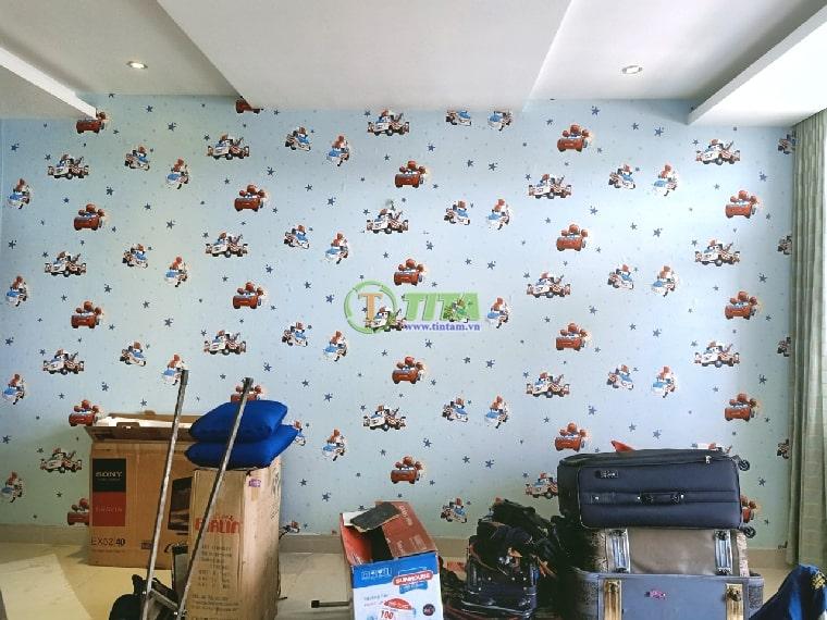 Giấy dán tường đẹp mẫu xe hơi máy bay cho phòng bé trai