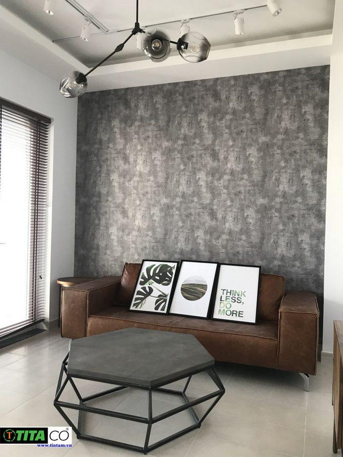giấy dán tường phòng khách hiện đại, giấy giả bê tông xi măng