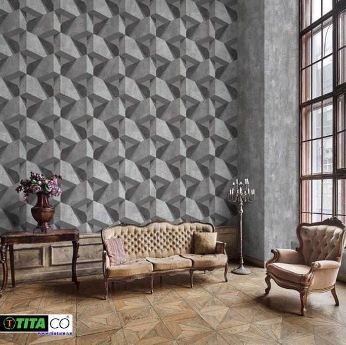 giấy dán tường 3d đẹp giả đá 3d cho phòng khách