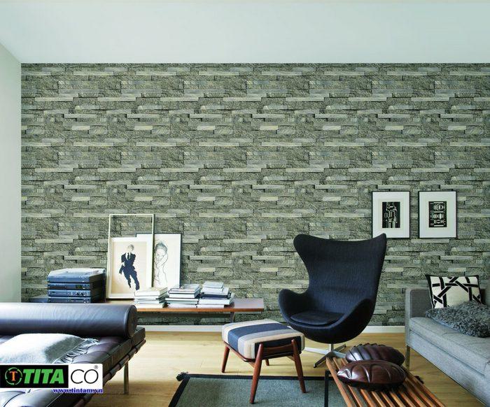 giấy dán tường 3d đẹp giả đá hiện đại cho phòng khách
