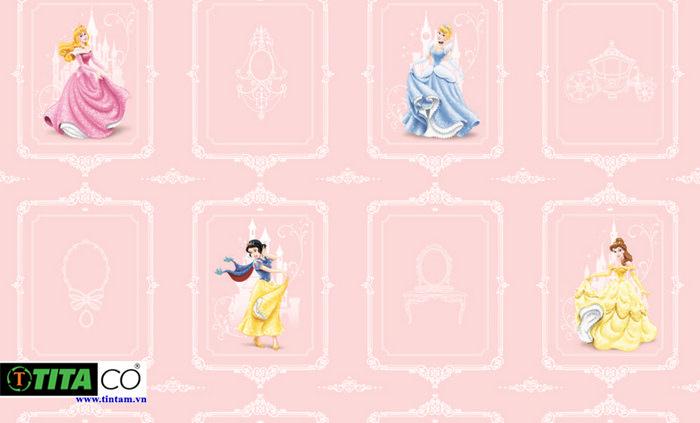Mẫu giấy dán tường công chúa cho phòng ngủ bé gái