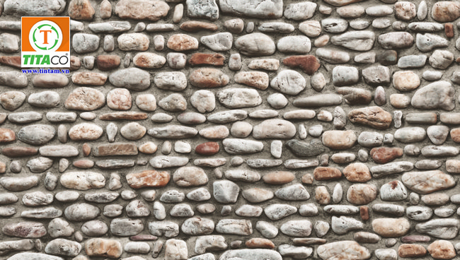 giấy dán tường 3d giả đá cổ quán cafe 88430-1
