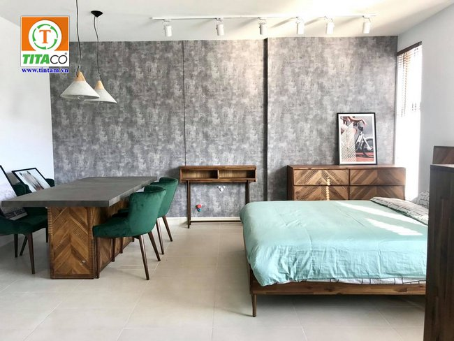mẫu giấy dán tường hiện đại giả xi măng bê tông cho phòng ngủ